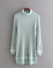 Elegant Light Blue Pure Color Decorated Long Sweater