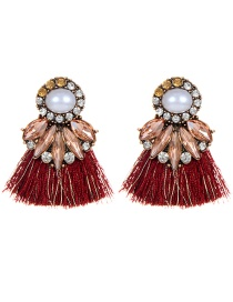 Bohemia Claret-red Round Shape Decorated Earrings