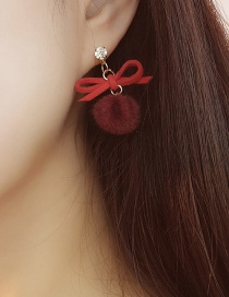 Fashion Claret Red Bowknot Shape Decorated Earrings