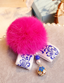 Fashion Plum Red Fuzzy Ball Decorated Pom Hair Clip