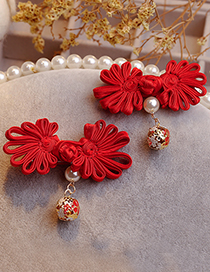 Lovely Red Chinese Knot Design Hair Clip(1pair)