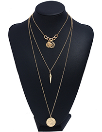 Fashion Gold Color Flower Pendant Decorated Multi-layer Necklace