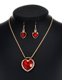 Lovely Red Heart Shape Decorated Jewelry Sets