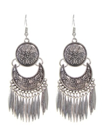 Bohemia Silver Color Leaf Shape Decorated Earrings