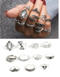 Bohemia Silver Color Elephant Shape Decorated Rings (11pcs)