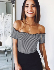 Elegant Gray Off-the-shoulder Decorated Blouse