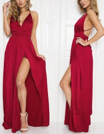 Bohemia Claret-red Pure Color Decorated V-neckline Long Dress