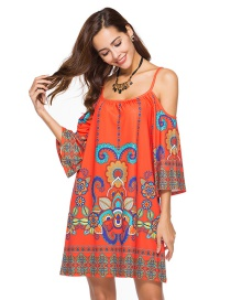 Bohemia Orange Off-the-shoulder Decorated Dress