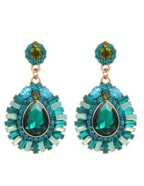Elegant Green Waterdrop Shape Decorated Earrings