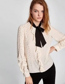 Elegant White Bowknot Shape Decorated Shirt