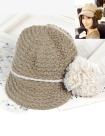 Fashion Gray Pom Ball Decorated Hat