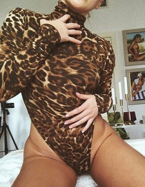 Fashion Brown Leopard Pattern Decorated Jumpsuit