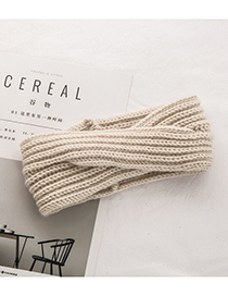 Fashion Beige Pure Color Decorated Hair Band
