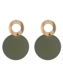 Fashion Green Circular Ring Shape Decorated Earrings