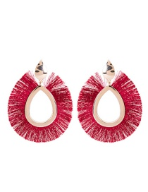 Fashion Dark Red Sector Shape Decorated Earrings