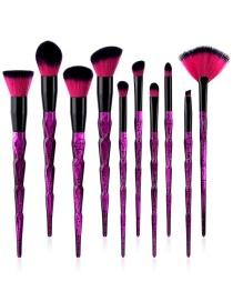 Fashion Purple Fan Shape Decorated Makeup Brushes (10pcs)