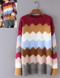 Fashion Multi-color Rainbow Pattern Decorated Sweater