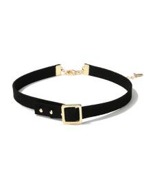 Fashion Gold Color+black Belt Shape Decorated Choker