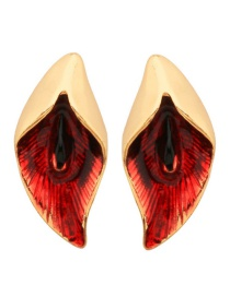 Fashion Gold Color+red Petal Shape Decorated Earrings