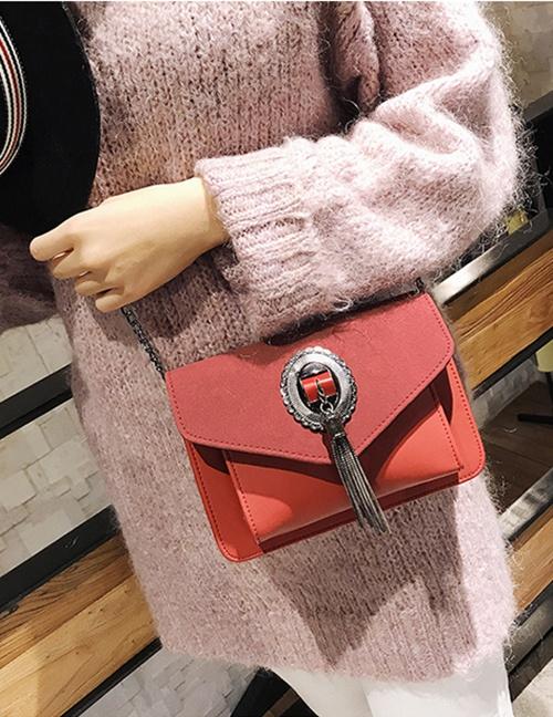 Elegant Dark Pink Metal Round Shape Decorated Bag