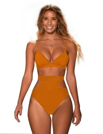 Fashion Light Coffee Pure Color Decorated Swimwear