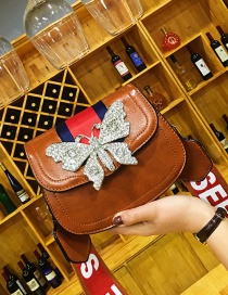 Fashion Brown Butterfly Shape Decorated Shoulder Bag