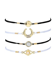 Fashion White +black Moon Shape Decorated Multilayer Bracelet