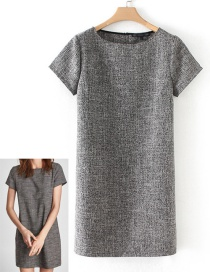 Fashion Gray Pure-color Decorated Dress