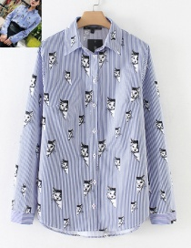 Fashion Blue+white Cat Shape Decorated Shirt