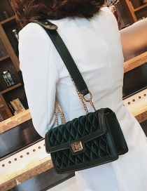 Fashion Green Rhombus Pattern Decorated Shoulder Bag