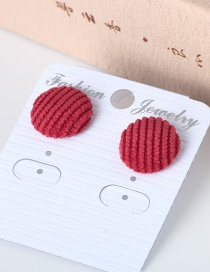 Trendy Red Pure Color Decorated Round Shape Earrings