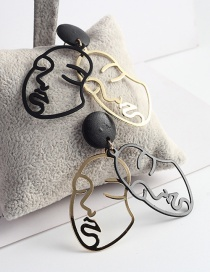 Trendy Gold Color+black Mask Shape Design Hollow Out Earrings