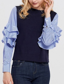 Trendy Dark Blue Stripe Pattern Decorated Long Sleeves Shirt