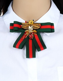 Fashion Red+green Bee Shape Decorated Bowknot Brooch