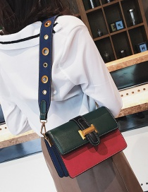 Fashion Green+red Color Matching Decorated Shoulder Bag
