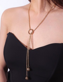 Fashion Gold Color Pearls Decorated Long Tassel Necklace