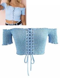 Fashion Blue Pure Color Decorated Bandage Design Blouse