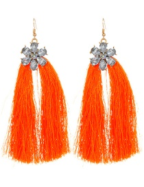 Fashion Orange Flower Design Long Tassel Earrings