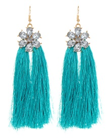 Fashion Blue Flower Design Long Tassel Earrings