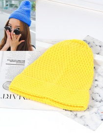 Trendy Yellow Pure Color Decorated Knitting Cap