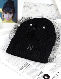 Personality Black Bowknot Shape Decorated Hat