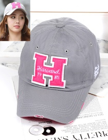 Fashion Gray Letter H Shape Decorated Hat