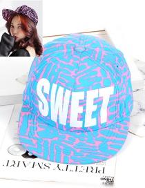 Fashion Blue Letter Shape Decorated Hat