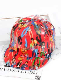 Fashion Red Graffiti Shape Decorated Hat