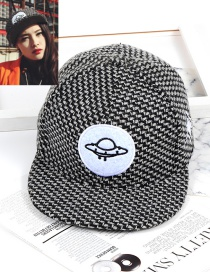 Fashion Black Spacecraft Shape Decorated Hat