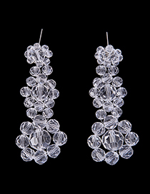 Fashion White Balls Shape Design Pure Color Earrings
