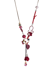 Fashion Red Flower Pendant Decorated Long Necklace