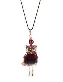 Fashion Red Robot Pendant Decorated Long Necklace