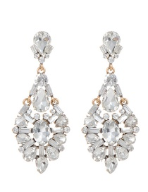 Fashion Silver Color Full Diamond Decorated Hollow Out Earrings