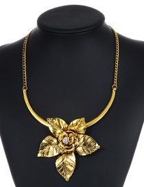 Fashion Gold Color Flower Decorated Pure Color Necklace